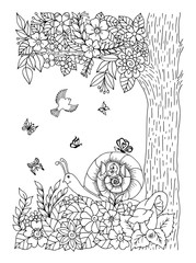 Vector illustration. A large snail in a clearing under a tree among the flowers. Work done manually. Coloring book. Anti Stress for adults and children. Black and white.