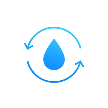 Water recycling icon on white