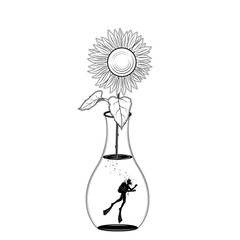 Scuba diving silhouette in jar of sunflower on white background. vector illustration isolated. Sport underwater. Diving school, Scuba school. tattoo design. for freedom.