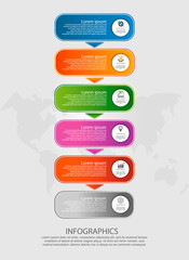 Modern vector illustration. Infographic template with six elements, arrows of the rectangle. Step by step. Designed for business, presentations, web design, timeline elements, diagrams with 6 steps
