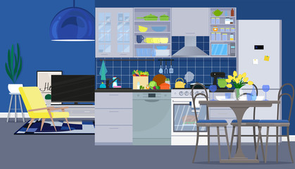Interior design of the kitchen with dining room and living room with furniture. Vector flat illustration.