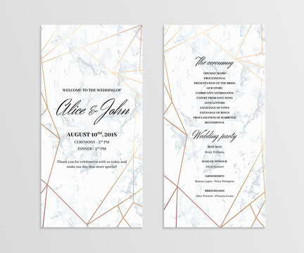 Double-sided wedding program template. Geometric design in rose gold on the marble background. Dimensions 4x8 inch. Seamless marble pattern in the palette.