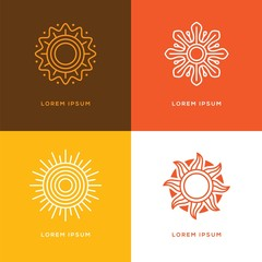 Four abstract linear sun logo.