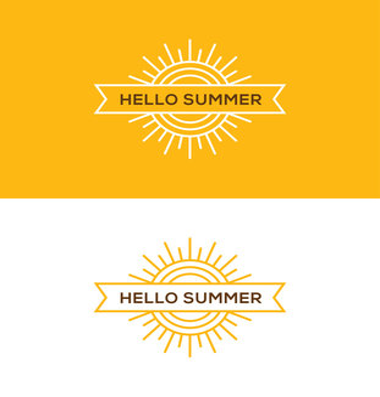 Linear sun logo, emblem or label design.