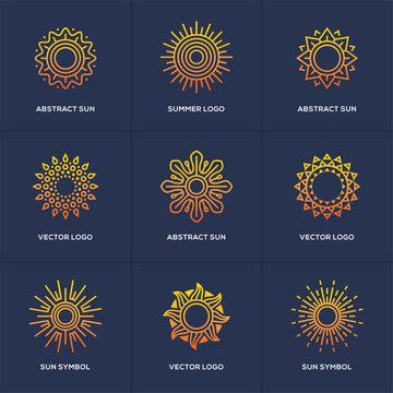Sun logo set isolated on blue background.