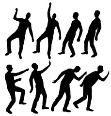 Vector silhouette of eight different men in different poses