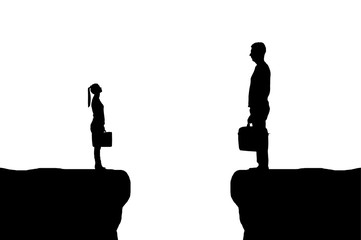 Vector silhouette of the workers, the big man and the little woman between them is a abyss