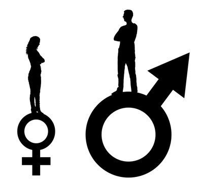 Vector silhouette of a big man and a small woman standing on gender symbols