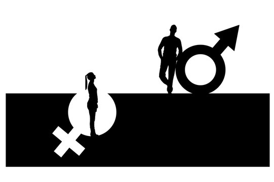Vector silhouette of a superior man over a woman who stands in a pit out of a gender symbol