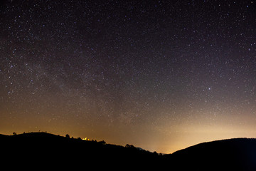 Astronomical photograph of the starry night sky