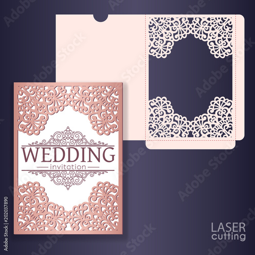 Laser Cut Wedding Invitation Card Template Wedding Invitation Or