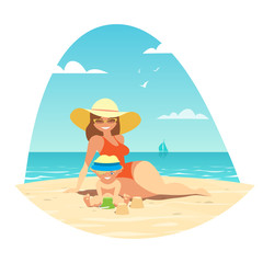 A woman and her child are sitting on a sandy beach by the blue sea. Swimsuit, hat, sunglasses. Vector illustration.