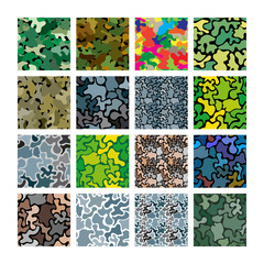 Vector camouflage set. Seamless background for wallpaper, backgrounds, textures in the army style.