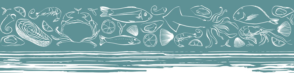 Seafood vector seamless border with marine life animals. Lined pattern. Vector hand drawn illustration.