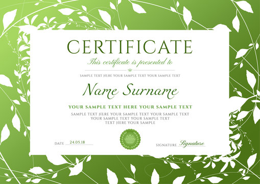 Certificate of completion template with Green floral pattern frame (leaves). Design useful for diploma, invitation, gift voucher, coupon or different Eco friendly awards. Vector