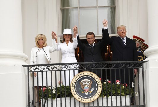 U.S. President Trump welcomes French President Macron during arrival ceremony at the White House in Washington