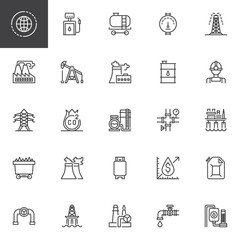 Oil industry outline icons set. linear style symbols collection, line signs pack. vector graphics. Set includes icons as Gas station, Tank, Gauge, Extraction rig, Factory, Pumpjack, Refinery, Platform