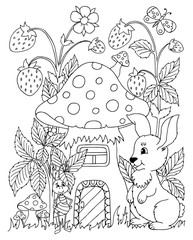 Vector illustration. Bunny came to an ant to visit. Coloring book. Anti Stress for adults and children. Black and white.
