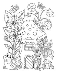Vector illustration. A snail in the clearing near the ant's house. Coloring book. Anti Stress for adults and children. Black and white.
