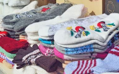selling of woolen socks on the market