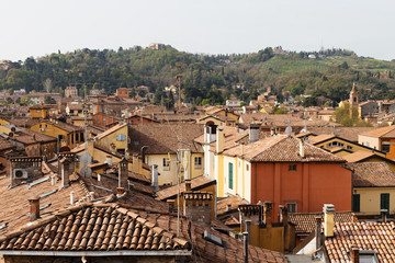 Morning view over Bologna with colorful rootops