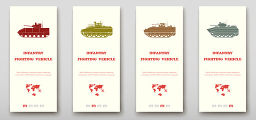 Infantry fighting vehicles leaflet cover presentation abstract, layout size fold set technology annual report brochure flyer design template vector