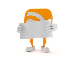 RSS character holding blank sheet of paper