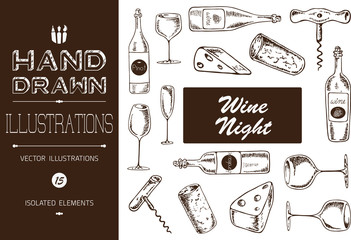 Hand Drawn Wine Night Vector Illustrations