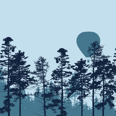 Vector illustration of hot air balloon flying over forest with space for your text