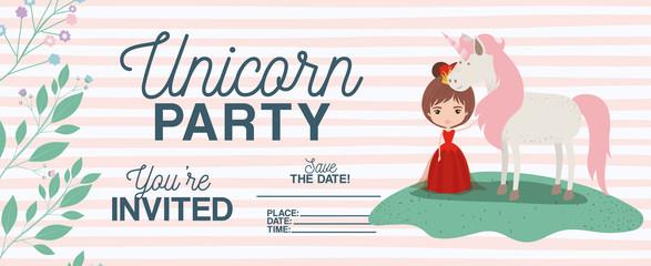 princess with unicorn invitation card vector illustration design