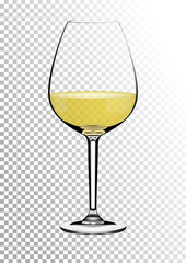 Transparent realistic vector wineglass full of white wine with bright saturated straw colored amber. Illustration in photorealistic style.
