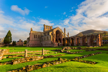 Ruins of Melrose Abbey in the Scottish Borders region in Scotland