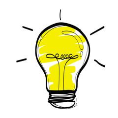 light bulb cartoon sketch vector