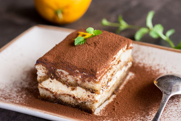 Tiramisu Cake Traditional Italian Dessert with Mascarpone Cheese and Espresso Coffee