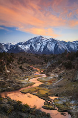 Foto op Plexiglas Zalm Sunrise reflection in the Eastern Sierra Mountains, California, USA.