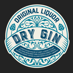 Gin logo with floral ornaments