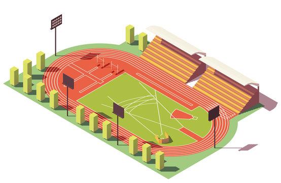Vector isometric low poly athletics stadium
