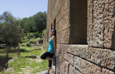 Beautiful Woman Portrait in Aigai Ancient City Manisa, Turkey