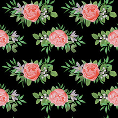 Seamless Pattern with Flowers and Greenery
