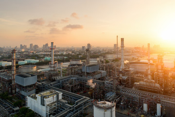 Acrylic Prints Coral Aerial view of twilight of oil refinery ,Shot from drone of Oil refinery and Petrochemical plant at dusk , Bangkok, Thailand