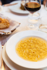 Tortellini al brodo, a local pasta specialty in Bologna, the food haven of Italy