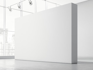 Modern bright gallery with white walls , 3d rendering