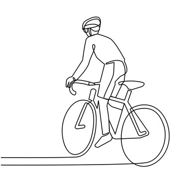 continuous line cyclist on a bicycle in competitions, drawn by hand. Icon, vector, picture, tattoo.