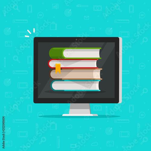 Books stack on computer screen vector illustration, flat cartoon pc