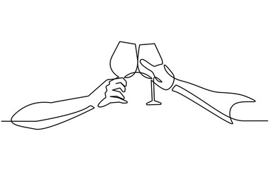 Continuous line drawing two glasses of wine in hands toasting creating splash on white background. Vector illustration.