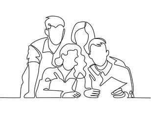continuous line drawing of business team or united family