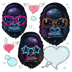 Vector set portrait monkey, gorilla in the fashion bright glasses, portrait of monkey in sunglasses