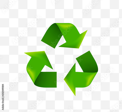 Cute Recycling Symbol Icon On Transparent Background Isolated