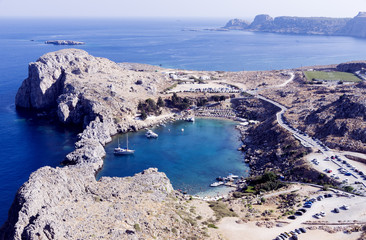 Path down to the beach St Pauls Bay at Lindos on the Greek Island of Rhodes Europe