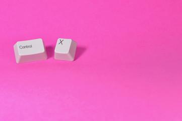 ctrl x keys on pink background